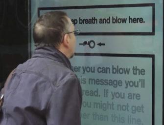 Проверка на «выдох» в антитабачной наружной рекламе Cancer Research UK