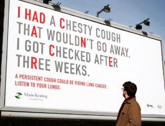 Кашляющий билборд Marie Keating Foundation предупредил дублинцев о раке легких