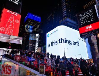 Твиттер рекламирует флагманский аккаунт в наружной рекламе Нью-Йорка