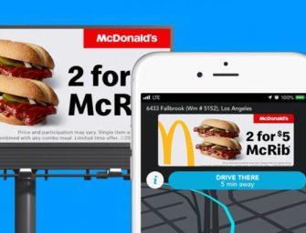 McDonald's продублировал свои билборды в мобильном навигаторе