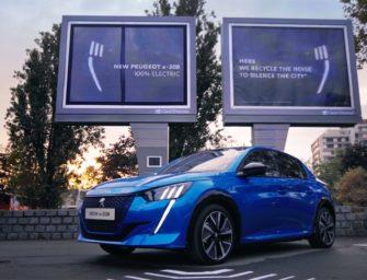 Билборды для зарядки электромобилей Peugeot будут получать энергию из городского шума